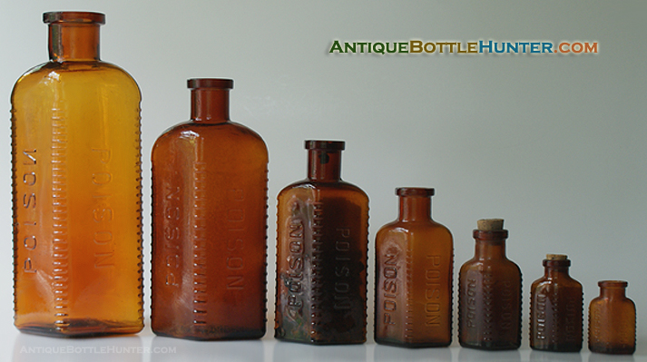 A run of amber KV-1 POISON / POISONs. --- Antiquebottlehunter.com