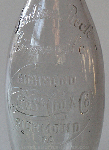 A close-up photo - Indian Rock Ginger Ale, bowling pin Pepsi:Cola from Richmond, VA. --- AntiqueBottleHunter.com