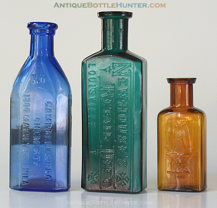 A light blue CAMPBELL & BRO. / CHEMISTS / 1800 MARKET ST. PHILA., a teal NEWHOUSE'S / RETAIL DEPT. / LOUISVILLE and a light amber OWL DRUG CO. (4 7/8 in., 5 1/8 in., and 3 1/4 in.) --- Antiquebottlehunter.com