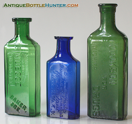 A yellow green MUEGEE, a rich blue O'ROURKE & HURLEY and a yellow green COOKSON FOR DRUGS. --- Antiquebottlehunter.com