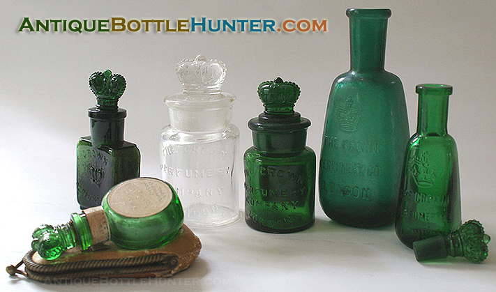 A group photo of some CROWN PERFUMERY COMPANY bottles. --- AntiqueBottleHunter.com