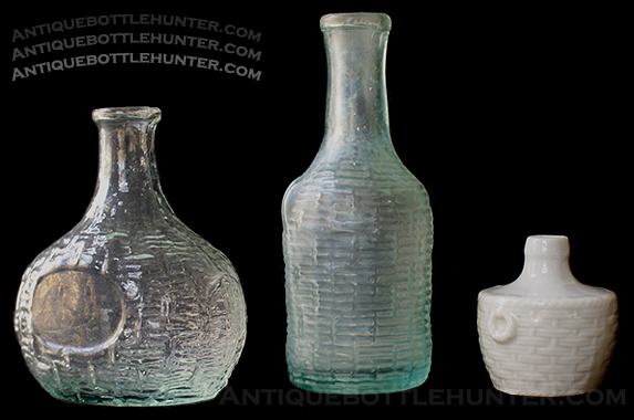 A couple of wicker embossed demijohn shaped colognes and a porcelain go-with. --- AntiqueBottleHunter.com