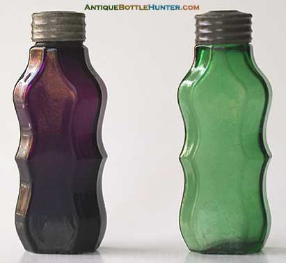 A couple of early lidded smelling bottles with ogival sides. --- AntiqueBottleHunter.com