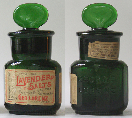 A yellow green 12 sided salts embossed GEORGE / LORENZ. It has three labels. The first reads: Inexhaustible Lavender Salts for Faintness Head-Ache Hysteria & O. George Lorenz Perfumer. Stamp like label states: George Lorenz Paris 1900 Highest Award at Five World's Fairs. Neck label: U.S. Serial No. 2679. Guarenteed under the Food & Drugs ACT, June 30, 1906. It still contains most of it's contents. Height w/out stopper, 2 - 1/2 in. Width, 1 - 3/4 in. --- AntiqueBottleHunter.com
