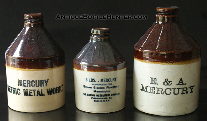 A group photo of three unusual Mercury jugs --- Antiquebottlehunter.com
