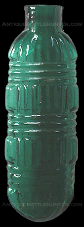 An early emerald green at times teal elliptical smelling bottle with a geometric pattern. --- AntiqueBottleHunter.com