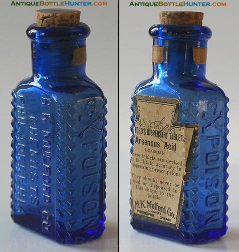 A cobalt KR-6 H.K. MULFORD CO. / CHEMISTS / PHILADELPHIA --- Antiquebottlehunter.com