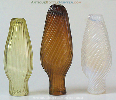 Three pattern molded smelling bottles in great colors --- AntiqueBottleHunter.com