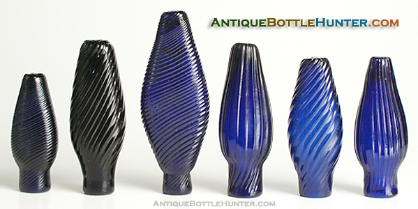 A run of blue pattern molded smelling bottles --- AntiqueBottleHunter.com