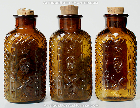 Three amber KO-1s... All three have labels. The first also has coffin shaped pills inside (4 - 5/8 in.) --- AntiqueBottleHunter.com