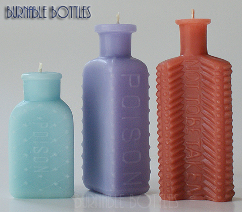 ITEM# 1022 --- POISON Group of Three --- Burnable Bottles - AntiqueBottleHunter.com