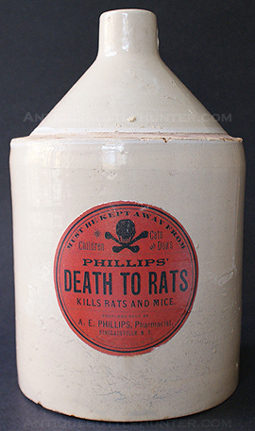PHILLIPS' DEATH TO RATS jug (9 - 1/4 in.). --- AntiqueBottleHunter.com