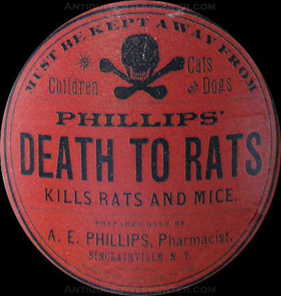 A close-up of the red label PHILLIPS' DEATH TO RATS --- AntiqueBottleHunter.com