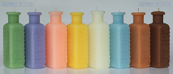 A group of KR-9 rectangular poison bottle candles --- Burnable Bottles - AntiqueBottleHunter.com