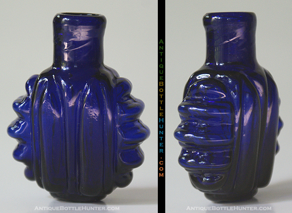 A deep cobalt blue, vertical and horizontal rib pattern smelling bottle. --- AntiqueBottleHunter.com