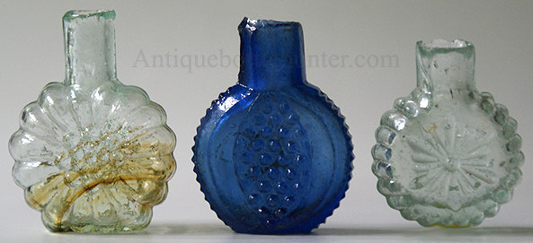 Three burst or sheared lip smelling bottles. --- AntiqueBottleHunter.com
