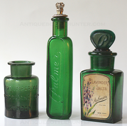 A dark rich green THE IMPERIAL / EAU DE COLOGNE Co Ltd / LONDON with ground throat and base embossed with a fancy R.K. Next, not a salts bottle, but included in the picture for company comparison... PALMER embossed and crown lid: SOLON PALMER N.Y. Far right... a green 'Lavender Salts' embossed PALMER on one side and full label on the other as shown. --- AntiqueBottleHunter.com