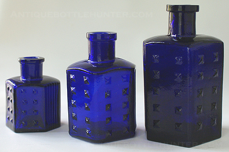 Set of KU-17s with BDH in diamond on the base. --- AntiqueBottleHunter.com