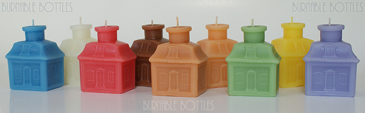 A group of S.I. COMP (Senate Ink Company) house or cottage ink bottle candles --- Burnable Bottles - AntiqueBottleHunter.com