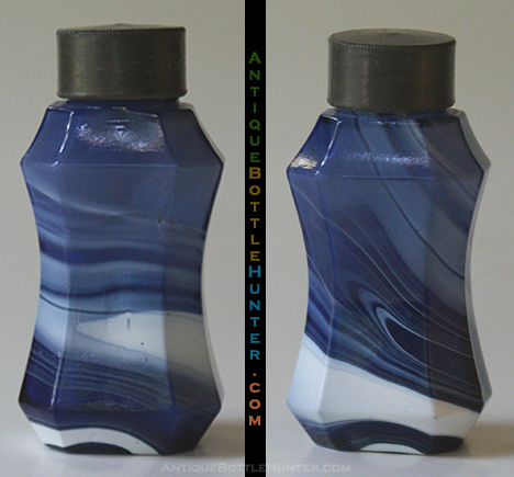 Marbleized blue and white, waisted octagonal smelling bottle with threaded neck, ground top and metal cap. --- AntiqueBottleHunter.com
