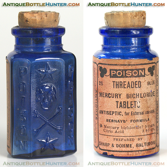A cobalt blue KU-19 'Smiling Skull' with a label. (2 7/8 in.) --- Antiquebottlehunter.com