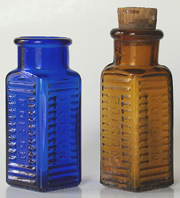 A couple of KS-2s ...cobalt blue and amber --- AntiqueBottleHunter.com