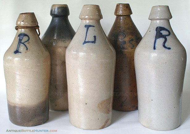 EXAMPLES OF EARLY STONEWARE BOTTLES IN OUR COLLECTION