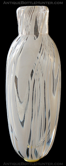 A smelling bottle with white looping - swirls. --- AntiqueBottleHunter.com