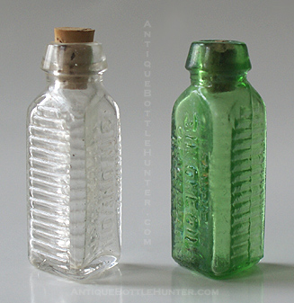 Two KT-17s... Clear and light yellow green: SAMPLE / 3 IN ONE OIL / CLEANS, OILS, / PROTECTS --- Antiquebottlehunter.com