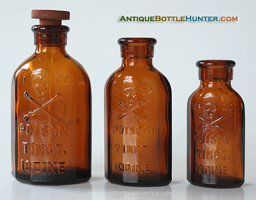 The three sizes of KO-3s. --- Antiquebottlehunter.com